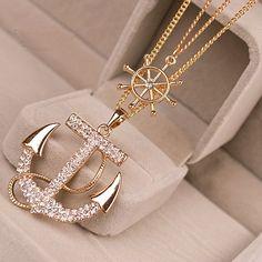 Anchor pendant trendy teen girl fashion necklace