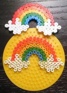 Result of the image for the model of rainbow suspension beads – Basteln mit Bügelperlen – Hama Beads Hama Beads Design, Diy Perler Beads, Perler Bead Art, Pearler Beads, Fuse Beads, Hama Beads Coasters, Seed Beads, Beading Tutorials, Beading Patterns