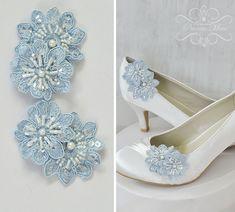Hochzeit Schuhclips - Spitze - Etwas Blaues von Princess Mimi auf DaWanda.com