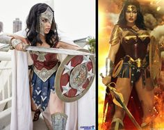 Left: Megan Marie as Wonder Woman. Right: Battle-ready Wonder Woman by artdude41.