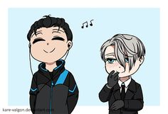 credit to Kare-Valgon ... Yuri a bit too into the music he's listening to before he steps on the ice, ft. a very entertained victor.  If you know me, you probably know that i love to animate people enjoying music, and ever since i saw that all the skaters listen to music until...
