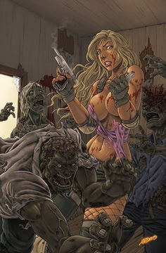 """"""" Outbreak by G-David """" Busty, gun-toting zombie huntress. Horror Icons, Horror Comics, Horror Art, Anime Pictures, Pictures To Draw, Fantasy Warrior, Fantasy Art, Zombie Kunst, Zombie Girl"""