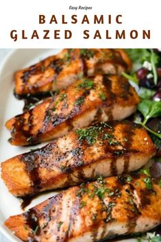 Balsamic Glazed Salmon Recipe – this is one of my favorite recipes to prepare salmon! It's easy to make yet the end results are perfectly delicious! It's just one of those impressive entrees that's sure to please yet it doesn't require a lot. Salmon Balsamic Glaze, Teriyaki Glazed Salmon, Honey Glazed Salmon Recipe, Delicious Salmon Recipes, Seared Salmon Recipes, Fish Recipes, Healthy Grilling Recipes, Easy Salmon Recipes, Seafood Recipes