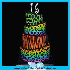 This is one of my favorites on myshopify.com: Neon Animal Print Sweet 16 Birthday Cake