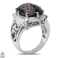Ebay NissoniJewelry presents - Smokey Quartz Fashion Ring in Sterling Silver 925    Model Number:FR8190-SISMQ    http://www.ebay.com/itm/Smokey-Quartz-Fashion-Ring-in-Sterling-Silver-925/321857632930