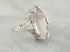 Large Marquise Morganite Gem in Art Deco White Gold Ladies Ring PYJ2NM-P
