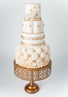 gold wedding cake from Whimsical Wedding Cakes