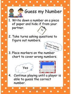 Guess My Number - 1st Grade Math Game - - 1.NBT.1 $2