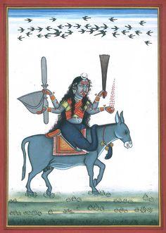 Shitala Mata - Goddess Who Cures Smallpox, Hindu Watercolor on PaperArtist Kailash Raj Shiva Hindu, Hindu Deities, Hindu Art, Durga Kali, Krishna, Indian Goddess, Kali Goddess, Om Namah Shivaya, Pagan Gods