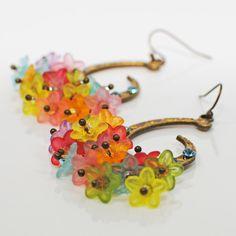 Multicolor Flower Chandelier Earrings Scimitar by LavenderRabbit, $15.00