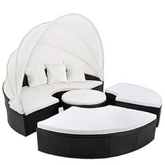 Rattan Garden Day Bed 185 Centimeters - Folding Canopy - Black Garden Sofa With Cream Cushions Outdoor Seat Lounger