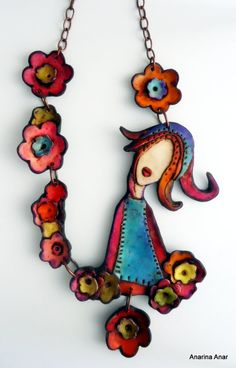 Polymer clay necklace Spring by AnarinaAnar