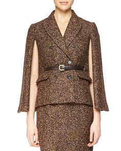 Double-Breasted Cape Jacket, Women's, Size: 8, Chocolate/Brown - Michael Kors Collection