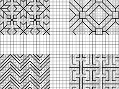 This bright, colorful, modern geometric blackwork sampler is perfect to practice, experiment with colors, destash an embroidery floss collection or