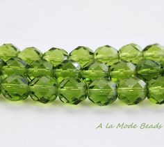 8mm Olivine Czech Fire Polished Rounds Faceted by AlaModeBeads