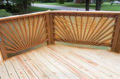 Nice new deck railing ideas made easy Wood Deck Railing, Deck Railing Design, Patio Deck Designs, Railing Ideas, Outdoor Deck Decorating, Outdoor Decor, Laying Decking, Diy Deck, Deck Plans
