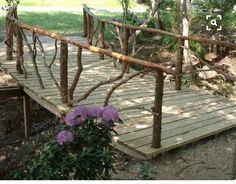 Rustic Garden Structures Bridges, Gates, & Trellises- maybe bridge going to lake. Garden Gates, Garden Bridge, Garden Art, Garden Design, Pond Bridge, Rustic Gardens, Outdoor Gardens, Outdoor Projects, Garden Projects