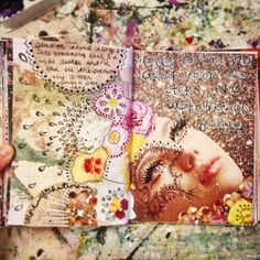 More faces and flowers and stars. Art journal pages by Jenndalyn. #artjournal #artist #sketchbook #mixedmedia
