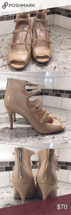 Karl Largerfeld Bette pumps New in original box missing lid caramel colored leather gladiator style open toe pumps with  3.5 inch spiked heel and back zip closure Karl Lagerfeld Shoes Heels