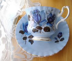 Royal Albert Blue Rose Cup And Saucer English Bone China 1950s