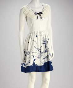Take a look at this Ivory Crochet Collar Landscape Dress by Knitted Dove on #zulily today!