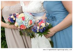 Kingdom Wedding Photography by Kat, light blue and pink bridal bouquet and bridesmaids bouquet