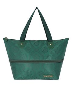 Jacki Design Emerald Expandable Tote | zulily . $9.99 $26.00  .  Product Description:  This expandable bag adds ease to shopping or travel with a lightweight design and secure dual-closure system.      18.5'' W x 11.02'' H x 5.31'' D  .     8.5'' handle drop  .     Polyester / nylon / polyurethane  .     Zip / snap closure  .     Imported