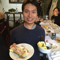 Dessert with Andrew - this is the sponge cake with cinnamon at this really amazing restaurant in Oporto. Food is amazing, especially the tapa appetizer. Food is so good that even @supertroopin is smiling so much! Thanks @jezzachoi Jeremy for taking this picture. #dessertwithandrew