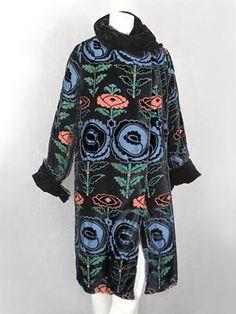 Devoré velvet coat patterned with Wiener Werkstatte-style flowers, 1920s