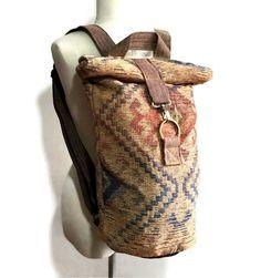 bbb3f883059c3d Bohemian men backpack Vintage Canvas Backpack Brown Rolltop Duffle Backpack  Hipster Hike Backpack Boho Hippie Backpack