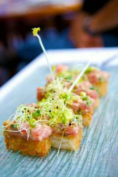 Spicy tuna on top of crispy rice at Temptation restaurant in Cupecoy.  Gourmet dining by Chef Dino Jagtiani.