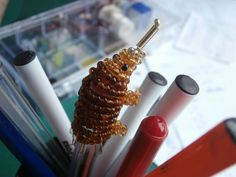 Beaded Echidna Pen-topper by JacksonsBeadwork on Etsy