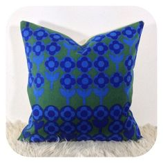 "Cushion Cover Vintage 60s Volution Fabric By Peter Hall For Heals 16"" x 16"""