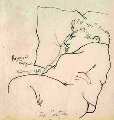 Jean Cocteau - Raymond Radiguet endormi