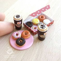 Miniature donuts and latte ☕