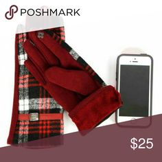 1 Left! Plaid tartan touch screen gloves red black Soft, trendy gloves to get you ready for colder weather!Red black white Acrylic/poly 60/40 Belt Thumb and index finger tips are conductive on each hand  Sorry, NO TRADES  Price firm unless bundled Sofi + Sebastien Accessories Gloves & Mittens
