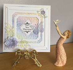 This is a card I've just made for a friends birthday this week. I used the Sue Wilsons  Double Pierced Squares, Noble Die- Ornate Pierced Squares, Finishing Touches- Orange Blossom Open and Closed petals, Petite Vinery, rainbow card from my craft stash, Poppy Stamps Swirl Butterfly, and Phil Martin Sentiment Stamp Baroque collection. I was really pleased with how this card turned out, the rainbow card just pops!