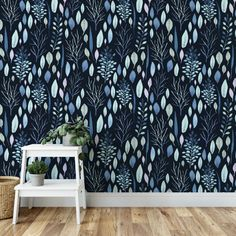 Sea floral botanical removable wallpaper / navy self adhesive wallpaper / dark wallpaper / nautical temporary wallpaper Dark Wallpaper, Peel And Stick Wallpaper, Bathroom Wallpaper, Print Wallpaper, Floating Plants, Tropical Wallpaper, Temporary Wallpaper, Other Space, Tall Ceilings