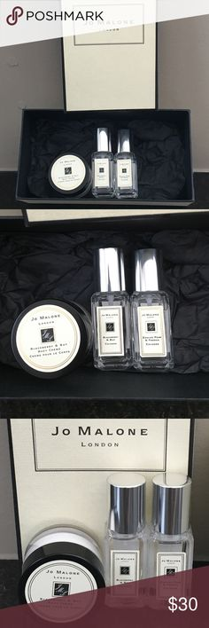 Travel Jo Malone 2 fragrance 1 body creme NEW box Comes with a cute nice box from Jo Malone . This post includes travel sizes in  1 - Blackberry & Bay cologne 0.3oz , 1- Blackberry & Bay body creme .5 Fl.oz ,1- English Pear & Fresia Cologne 0.3oz . All new . I received items as gifts with big purchases . Jo Malone products are AMAZING ! PLEASE CHECK OUT MY OTHER LISTINGS AS I OFFER A BUNDLE RATE AND HAVE MANY BEAUTY ITEMS LISTED AS WELL AS OTHER ITEMS , AND CHECK OUT MY FEEDBACK AS I HAVE…