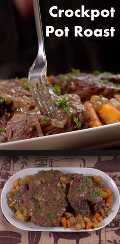 Crockpot Pot Roast | Planning a big dinner? Here's a fool proof recipe that's easy, can be made ahead of time and can feed a crowd! All you need is a slow cooker, a beef chuck roast, carrots, onions, potatoes, celery and a variety of seasonings. Click for the video and recipe. #familydinner #entertaining #slowcookermeals #easyrecipes