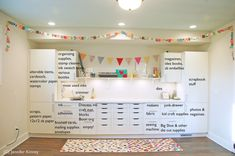 Craft room_whats in the drawers text - Jennifer Kinney Ikea Craft Room, Small Craft Rooms, Craft Room Storage, Paper Storage, Craft Room Shelves, Basement Craft Rooms, Laundry Craft Rooms, Ribbon Storage, Storage Ideas