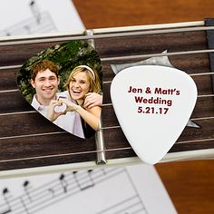 Create lasting Wedding memories with the Our Wedding Personalized Photo Guitar Pick. Find the best personalized wedding gifts at PersonalizationMall.com