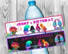 Trolls Water Bottle Label 2 styles