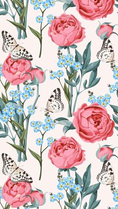 43 Ideas wallpaper computer flowers nature for 2019 Flowery Wallpaper, Butterfly Wallpaper, New Wallpaper, Pattern Wallpaper, Wallpaper Backgrounds, Wallpaper Ideas, Nature Wallpaper, Best Iphone Wallpapers, Pretty Wallpapers
