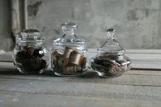 3 Vintage Apothecary Jars by therhubarbstudio on Etsy, $28.00
