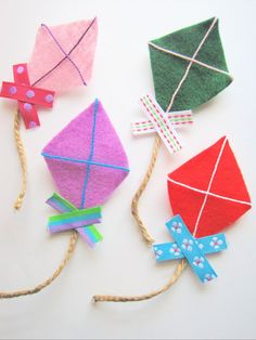 Felt Kite Brooches Pins set of 4 colorful whimsical by MintMarbles, $15.00
