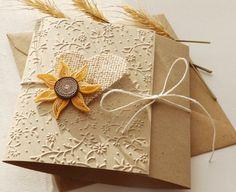Handmade sunflower wedding invitation/Burlap heart wedding invitation/Rustic wedding invitation/Country invitation by mirelaemilia on Etsy