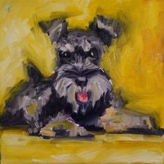 """Schnauzer"" 8x8 in oil on canvas #dailypainting #paintingADay"