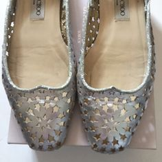 3ee9a50622 M_5980ef8f7fab3ae4f3162935 Silver Flats, Leather Flats, Metallic Leather, Jimmy  Choo, Loafers, Moccasins