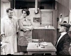 """Last of the Summer Wine (BBC). """"Sid, Ivy and Compo"""" (John Comer, Jane Freeman and Bill Owen). This scene is from the pilot episode."""